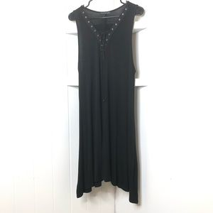 French Atmosphere Sleeveless Lace Neckline Dress
